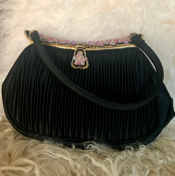 1940's French Black Satin Beaded Evening Bag