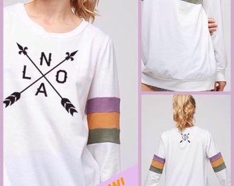 3d4e9e7b NOLA Arrow, Block Print, Oversized Soft French Terry Sweatshirt, Mardi  Gras, AVAILABLE NOW!
