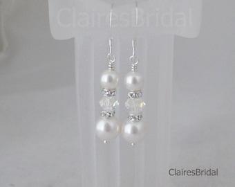Bridal Crystal Earrings Swarovski White Pearl and Crystal Teardrop Earrings Wedding Jewelry Bridesmaid Gift Bridal Dangle Earrings
