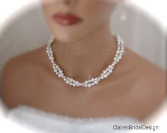 Wedding Necklace Bridal Jewelry Set Pearl Necklace Double Strand Necklace and Earrings Set