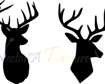 Deer Head svg, Deer head silhouette, deer silhouette, deer svg, deer antlers svg, svg cutting design, deer svg design, deer files for cricut