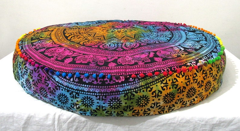 Multi Color Elephant Floor Cushions Cover Indian Tapestry 35X6 Inches Hippie Bohemian Floor Pillows Large Outdoor Round Bean Bag Cover
