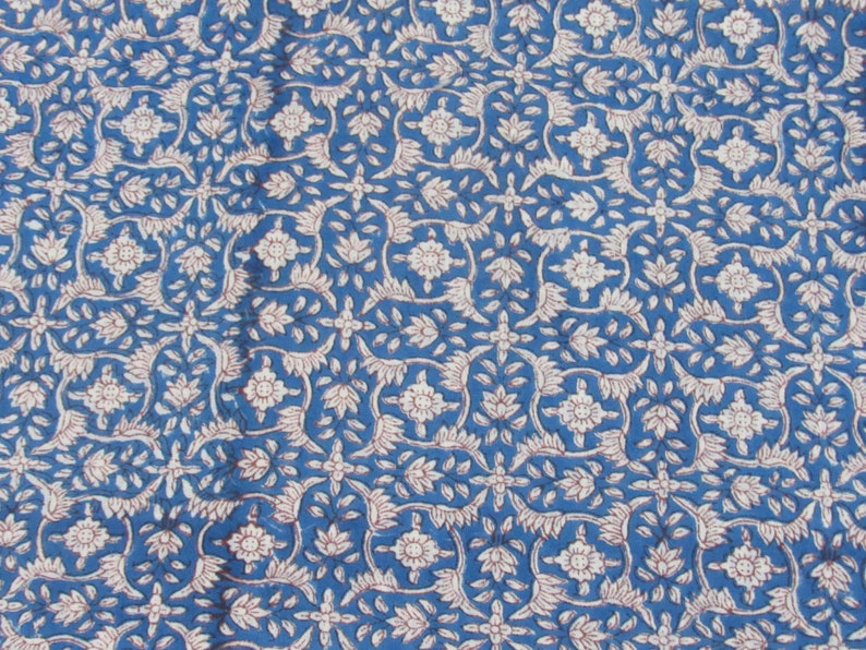dress making dyeing /& batik upholstery sewing 10 yard size handmade blue floral print 100/% pure cotton fabric home decor Indian tops