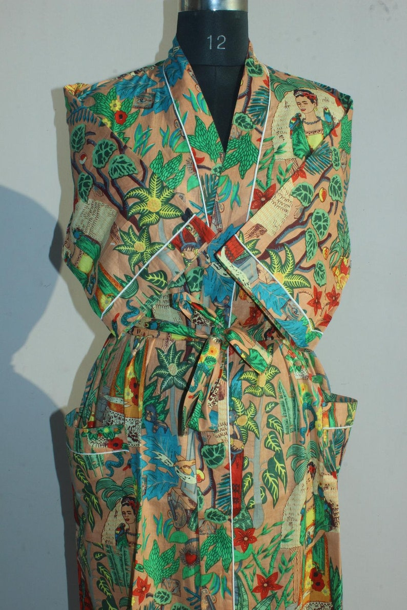 Handmade Farida Khalo print Cover up Bath Robes,Beach Wear Dress Gift for her Wedding Bridal Robe Bridesmaids Sleepwear Cotton Kimono