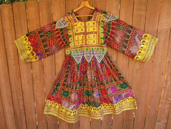 vintage Afghan Kuchi dress   # 421    FREE shippin