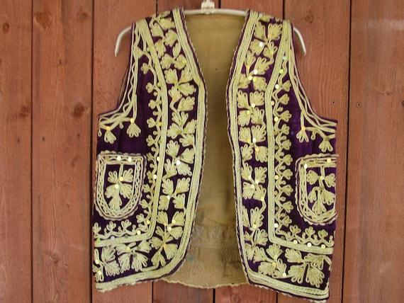 afghan purple velvet vest #405