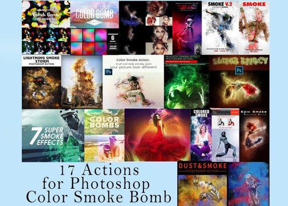 17 Actions for Photoshop Color Smoke Bomb, smoke grenade gender reveal,  gender reveal smoke bomb, colorful smoke bomb, Photoshop Overlay,