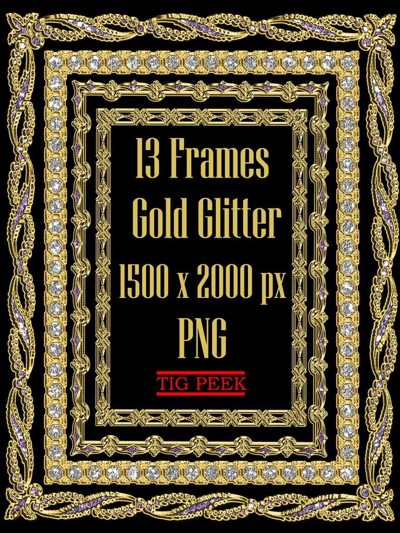 d26e6cd2a276 13 Gold glitter frames clipart digital glitter frame golden