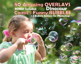 80 Bubbles Photoshop Overlays, Animals shaped Soap Bubbles Overlay, Dinosaur Soap Bubbles, Photo effect, digital bacdrop, bubbles overlays