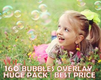 160 Bubbles Photoshop Overlays, Soap Bubbles Overlay, PNG Bubbles, Realistic Soap bubble Photo effect, digital bacdrop, bubble backdrop