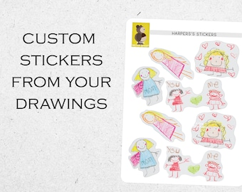 Custom stickers from drawings, stickers from photo, personalized stickers, stickers for kids, create your stickers, glossy stickers