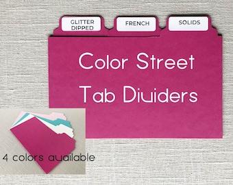 Color Street file tab dividers, Color Street organization, Color Street dividers