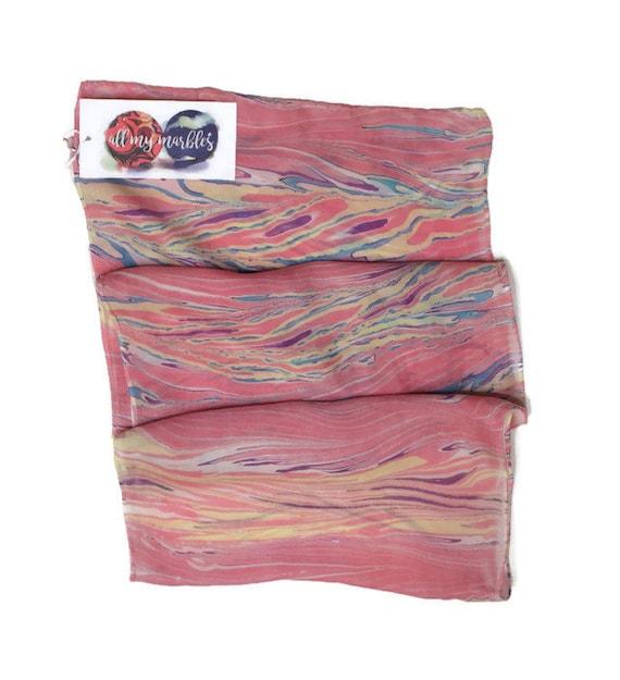 One Of A Kind Handmade Marbled Silk Scarf 11x60 Etsy