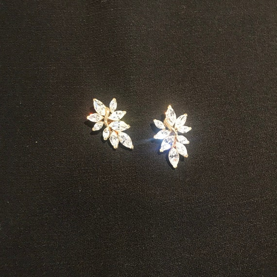 Trifari Rhinestone Comfort Clip Earrings - image 2