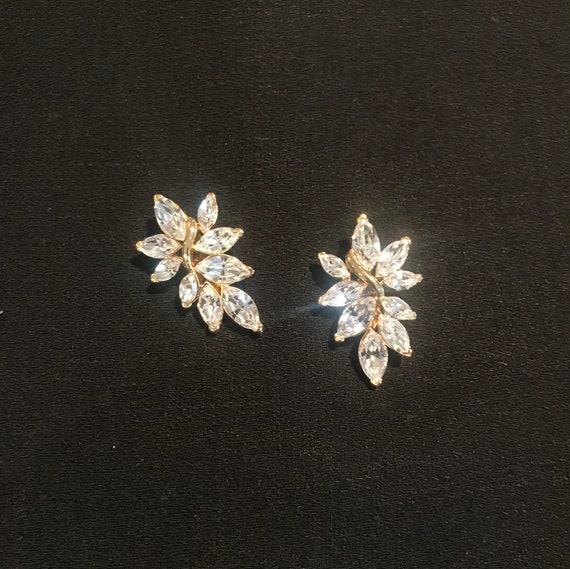Trifari Rhinestone Comfort Clip Earrings