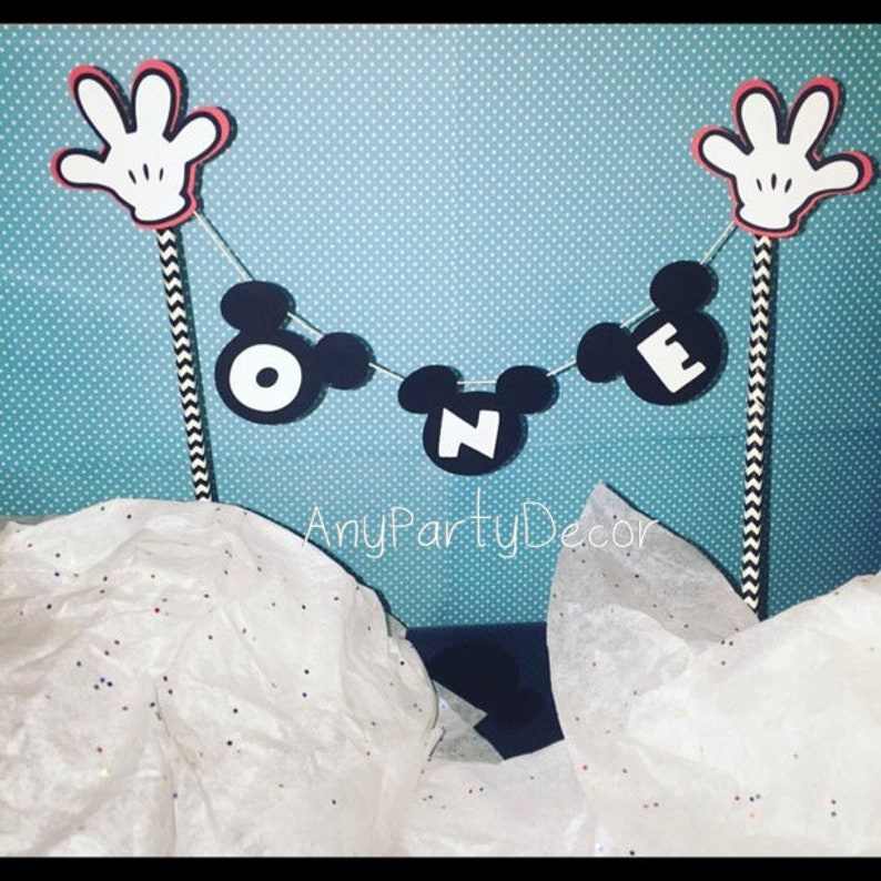 Wondrous Mickey Mouse First Birthday Cake Banner Mickey One Cake Etsy Funny Birthday Cards Online Aboleapandamsfinfo