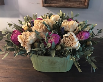Peonies and Teardrop Eucalyptus