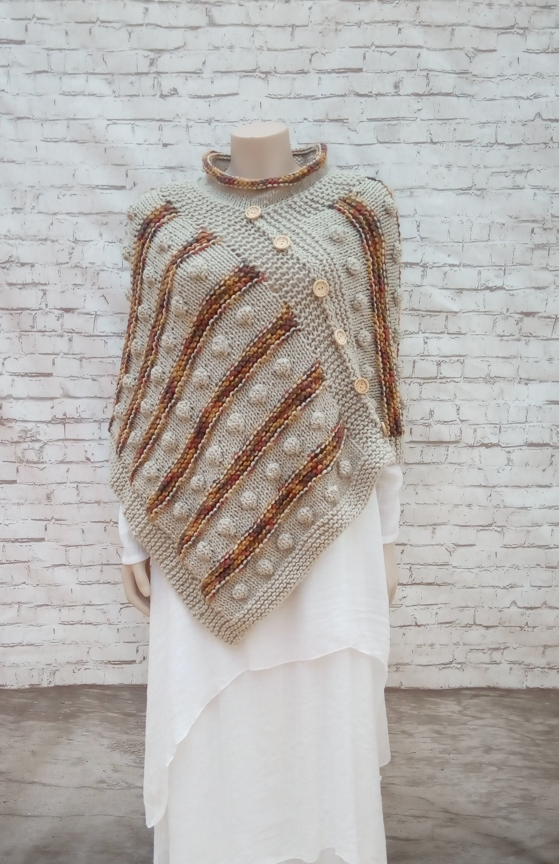 0371e3390 Hand Knit Poncho for women Boho Style Shawls and Wraps for | Etsy