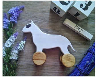 Wooden toddler toys Boston terrier miniature Montessori baby gift Wood dog figurine Unique present for boy girl puppy lover Pull animal