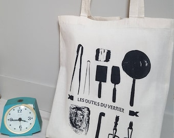 Cotton totebag- Glass makertools- arts and crafts-made in France