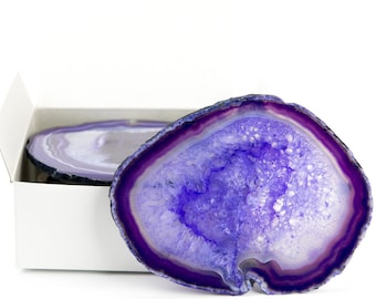 """Large Purple Agate Coasters Set of 4 Sliced Thick with Felt Bumper (4-5"""") 