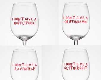 Hogwarts House, DYI, Wine Glass Decals, Set of 4, Harry Potter,