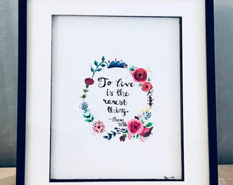 Floral Watercolour Literary Quote Oscar Wilde