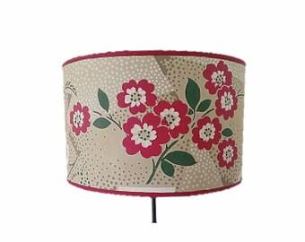 """Drum paper Lampshade painted vintage """"Java""""."""
