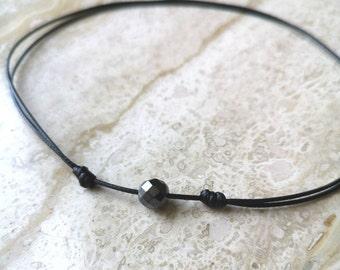 Dainty Bead Choker Hematite Choker Beaded Choker Necklace Black Stone Choker Black Hematite Necklace Stone Choker 0285BN
