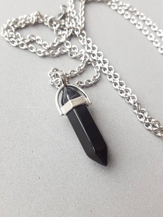 24 long glass bead  necklace. Black Obsidian pendant