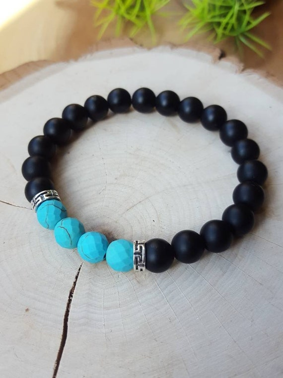 Matte Black Onyx and faceted Turquoise Howlite gemstone bracelet for women and men with Silver spacer beads and Stretch elastic cord