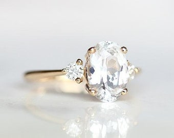 White Sapphire Engagement Ring | Oval Engagement Ring | Three Stone Ring | Oval Sapphire Wedding Ring | Oval 3 Stone Ring [The Adah Ring]