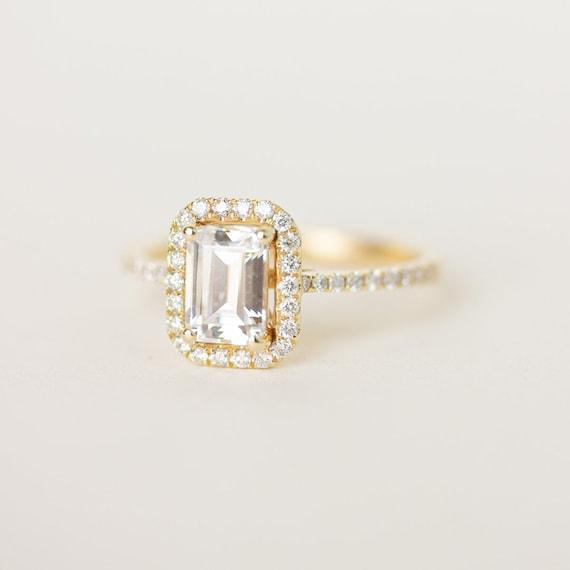 Moissanite Halo Engagement Ring Emerald Cut Diamond Wedding Etsy