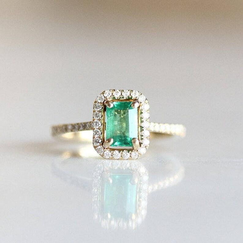 12e6edadf4db Emerald Halo Engagement Ring Emerald Cut Diamond Wedding