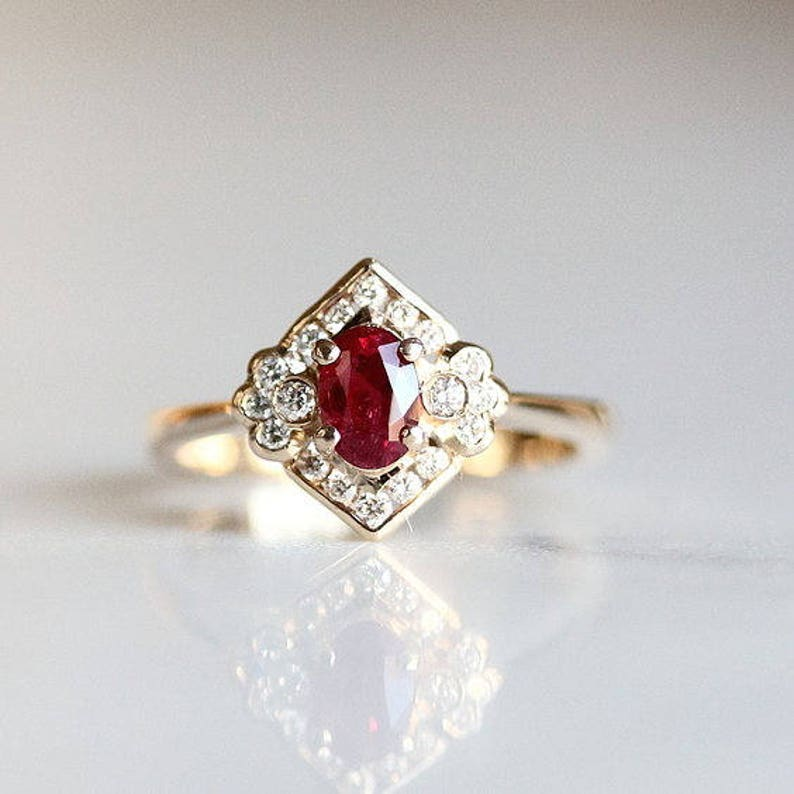 2260beb8a Ruby Engagement Ring Cluster Engagement Edwardian Ruby | Etsy