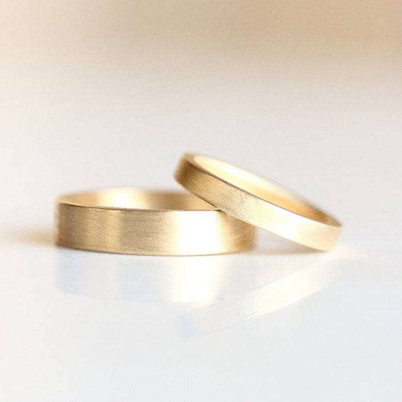 Matte Gold Wedding Band | Men's and Women's Matching Rings | His and Hers  14k Gold and Platinum Wedding Ring [Flat Edge Wedding Band]