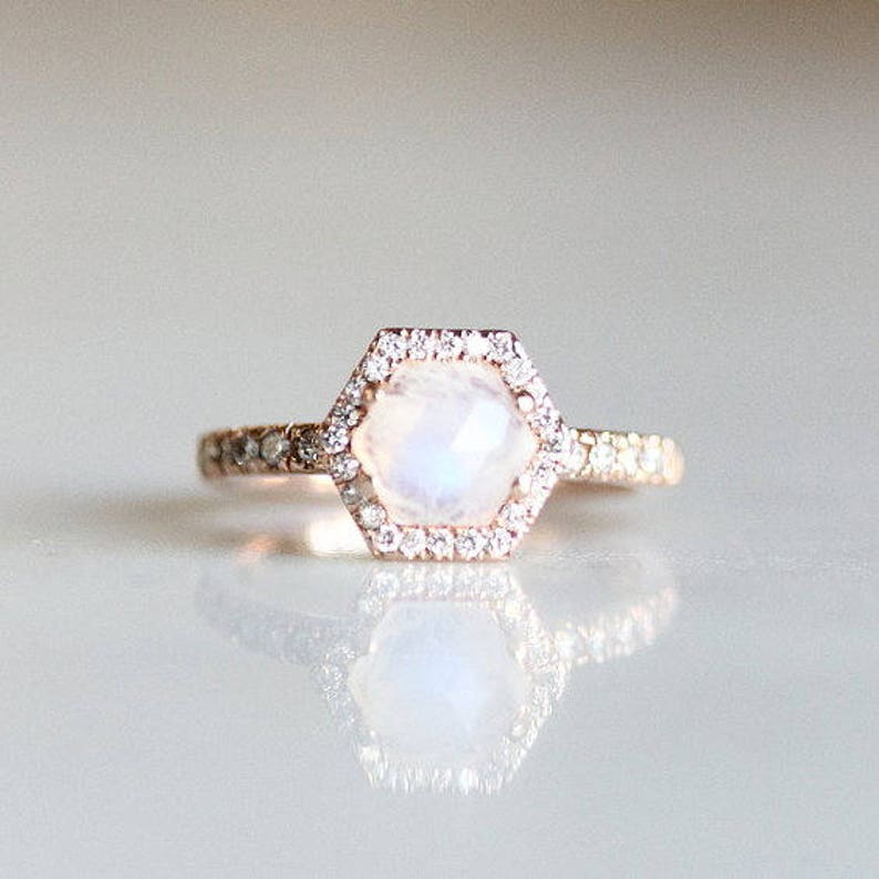 Moonstone Engagement Ring  Hexagon Engagement Ring  Rose image 0