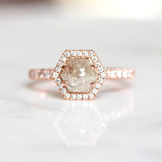 b6440b8cd7bfd Grey Diamond Engagement Ring | Raw Rose Cut Diamond Ring | Salt and Pepper  Diamond Ring | Hexagon Natural Diamond Ring [The Ondine Ring]