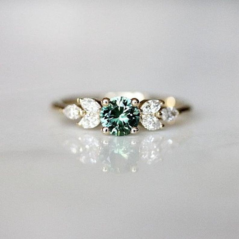 Sapphire Wedding Rings.Teal Sapphire Engagement Ring Leaf Engagement Ring Montana Sapphire Nature Inspired Wedding Ring Diamond Alternative The Eva Ring