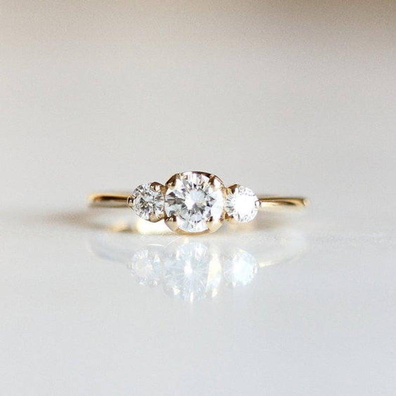 2870dc466380 3 Stone Diamond Engagement Ring 14k Gold Minimalist Trilogy