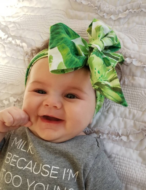 newborn-adult baby headband green marble baby headwrap baby bow tie-on headwrap