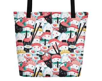 Sushi Beach Bag, Sushi Lover Gift, Beach Tote, Sushi Mom, Sushi Lovers, Everyday Tote, Kawaii Sushi Print, Sushi Gifts, Gift for Her, Food