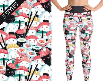Sushi Leggings, Yoga Leggings, Yoga Pants, Sushi Lover Gift, Sushi Lover Gift for Women, Yoga Wear, Pants Printed, Kawaii Sushi, Yoga Shorts