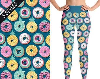 876185fb4cb22 Yoga Leggings, Workout leggings, Leggings, Fruits Print, Donuts, Fruit  Lover Gift, Yoga Wear, Yoga Shorts Woman, Yoga Pants, Fruits Fabric