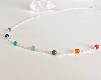 Gemstone Necklace, Chakra Necklace, Dainty Necklace, Holistic, Yogi, Spiritual, Inspirational Necklace, Layering Necklace