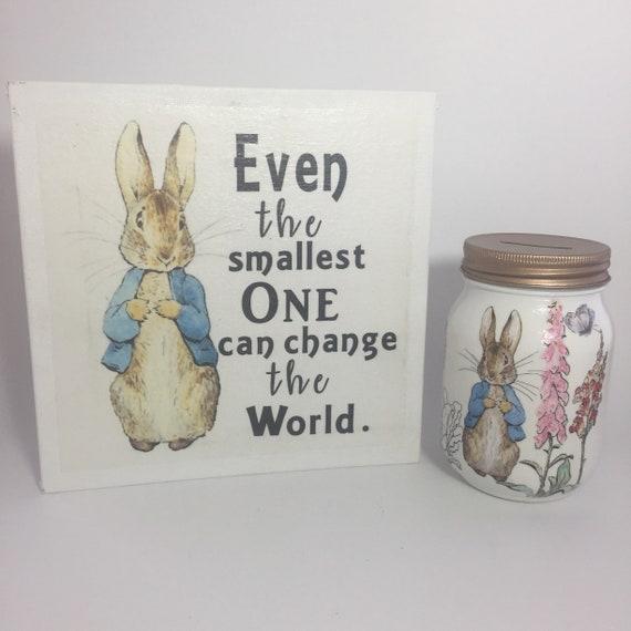 Peter Rabbit Decoupage Mason Jar money jar
