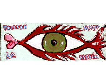 Fish Red Passion painting on wood