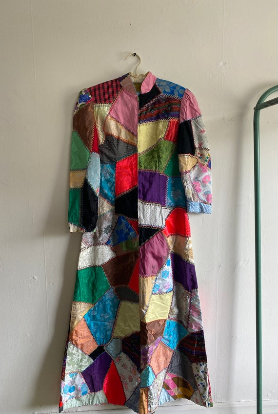 1960s Psychedelic Crazy Quilt Patchwork Dress - image 2