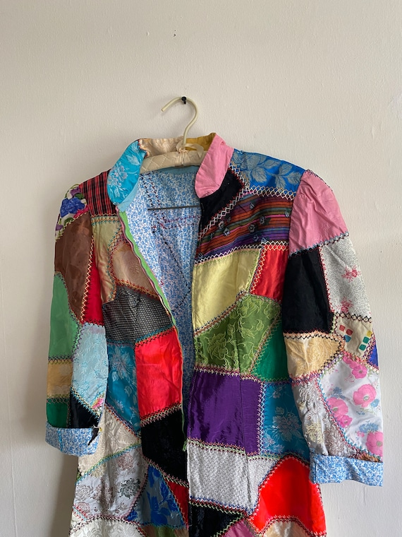 1960s Psychedelic Crazy Quilt Patchwork Dress - image 6