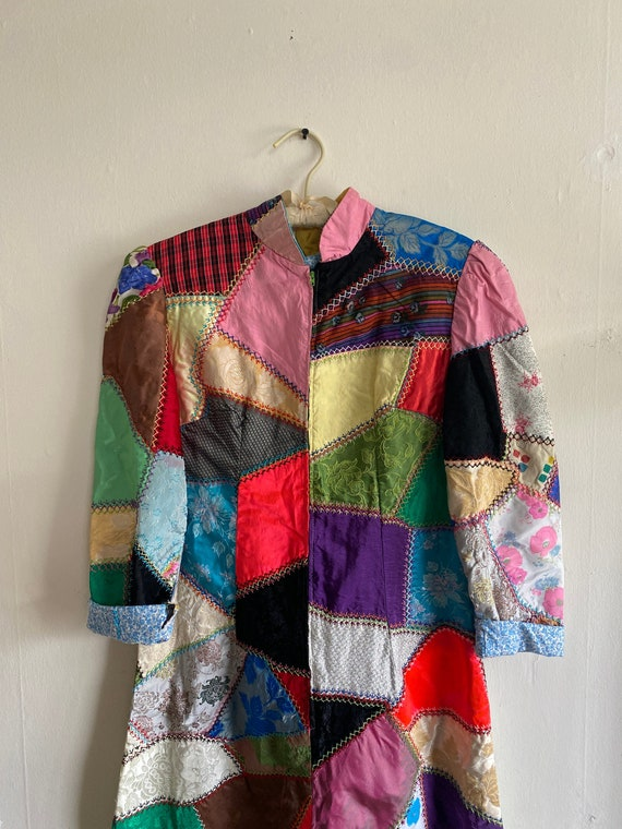 1960s Psychedelic Crazy Quilt Patchwork Dress - image 1